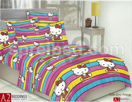 sprei hello kitty pelangi